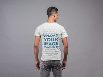 Back View T-Shirt Mockup Featuring a Strong Man 21551