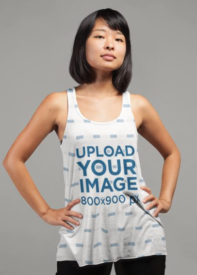 Sublimated Tank Top Mockup of a Woman 21735