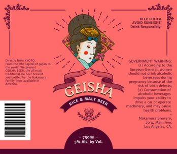 Geisha Beer Label Design Template 761a