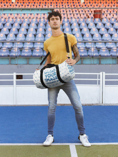 Mockup of a Man Carrying a Duffle Bag at a Court 23217