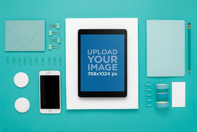 Mockup Featuring an iPad on a Flat Lay Background 22805
