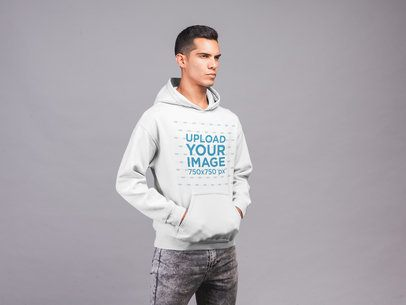 Pullover Hoodie Mockup of a Serious Man at a Studio 21558