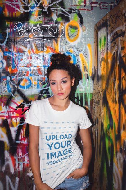 Tshirt Mockup of a Girl in a Bathroom with Graffiti 22279