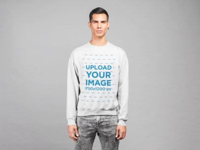 Plain Sweatshirt Mockup of a Man in a Studio 21564