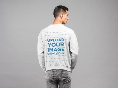Back Sweatshirt Mockup of a Man with a Neutral Pose 21565