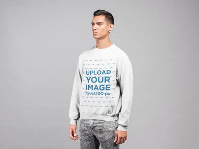 Plain Shot Mockup of a Man Wearing a Sweatshirt 21566