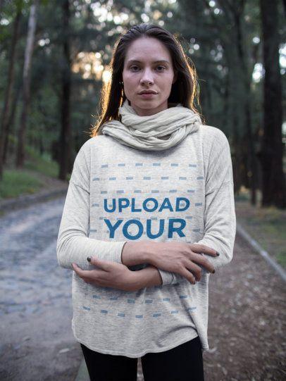 Sweatshirt Mockup of a Woman in the Woods 17923