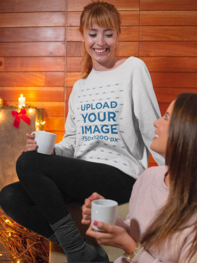 Christmas Sweater Mockup of a Woman Smiling and Drinking Hot Chocolate with Her Friend 18038