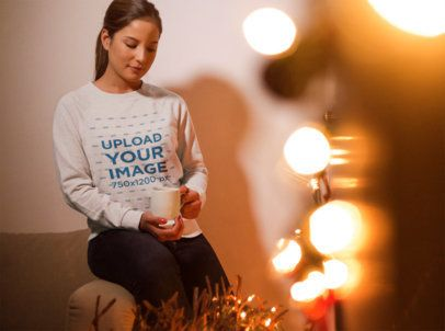 Xmas Sweater Mockup of a Woman Staring into Her Cup 18051