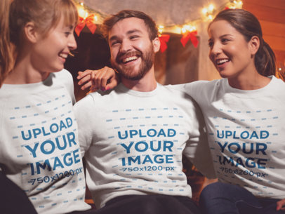 Sweatshirt Mockup of Three Friends Celebrating Christmas 18042