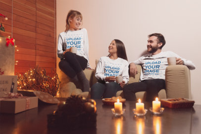 Christmas Sweater Mockup Featuring Three Friends Gathered in a Living Room 18050