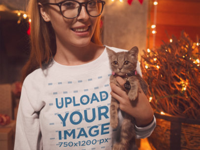 Sweatshirt Mockup of a Woman Cuddling with Her Cat on a Christmas Setting 18046a