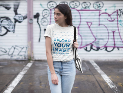 Mockup of a Woman Wearing a Unisex T-Shirt 23005
