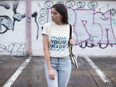 Mockup of a Woman Wearing a Unisex T-Shirt 23005