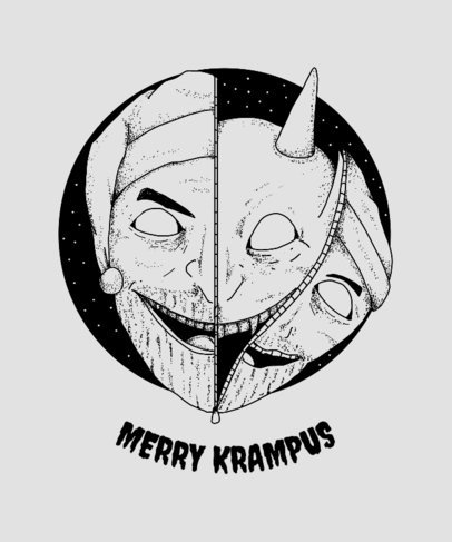 Krampus Legend Christmas T-Shirt Design Template 825