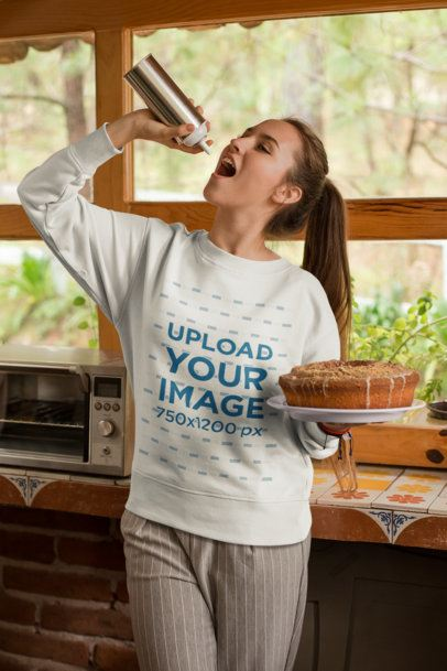 Ugly Xmas Sweater Mockup of a Pretty Woman Eating Whipped Cream 23496