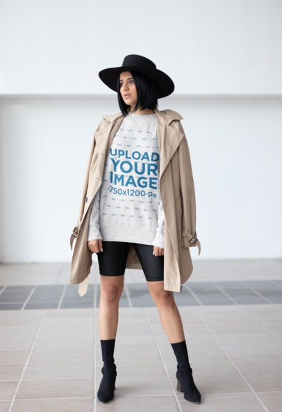 Sweater Mockup of a Girl Wearing a Fashionable Hat 23103