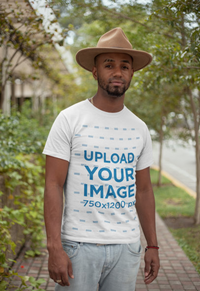 T-Shirt Mockup Featuring a Man Wearing a Felt Hat 22763