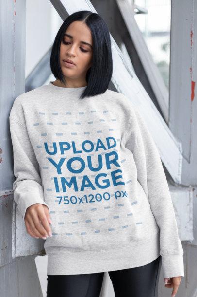Mockup of a Brunette Young Woman Wearing a Sweatshirt 23105