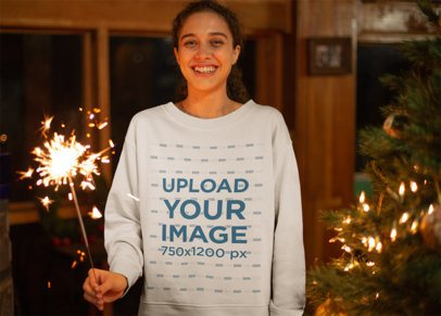 Ugly Xmas Sweater Mockup of a Happy Woman with a Sparkler 23529