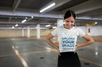 Round-Neck Tee Mockup of a Young Stylish Woman in a Parking Lot 20694
