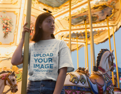 Unisex Tee Mockup of a Serious Woman on a Carousel 22970