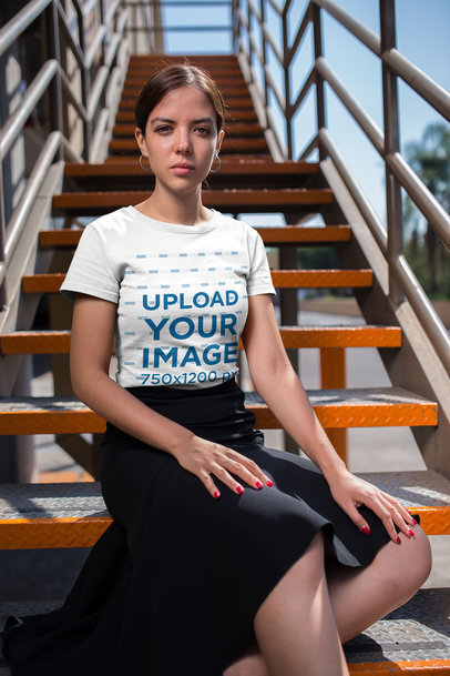 Tee Mockup of a Fashionable Woman Wearing a Black Skirt and Small Hoop Earrings 20695