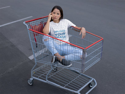 Mockup of a Pretty Woman Wearing a Tee While in a Shopping Cart 23044