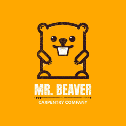 Carpentry Logo Template with Beaver Graphic 1550d