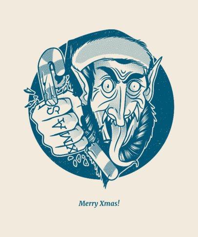 Xmas T-shirt Design Crator with Mean Krampus Graphic 834c