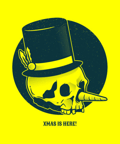 Ugly Christmas Tee Design Template with Skeleton Snowman 834e