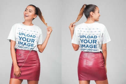 Unisex Tee Mockup Displaying Both Sides of a Woman in a Studio 22782