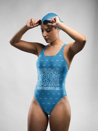 Swimsuit Mockup of a Girl Putting on Goggles 23284