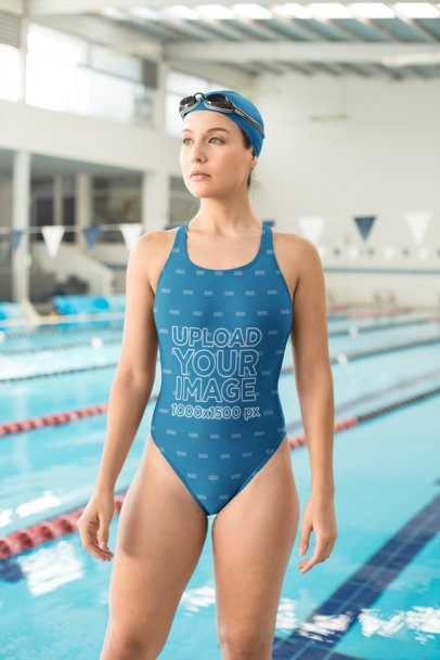 Mockup of a Decided Woman Wearing an Athletic Swimsuit 23300