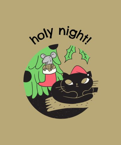 Black Cat in Christmas T-Shirt Design Template 830d