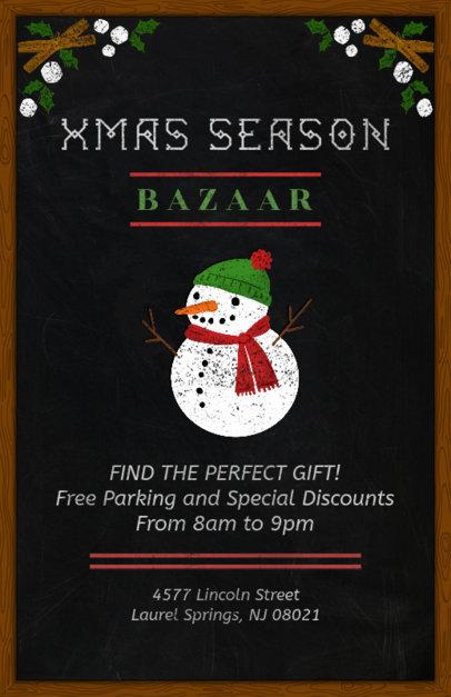 Christmas Bazaar Flyer Template with Blackboard Design 863a