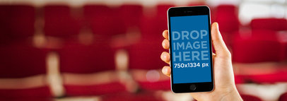 iPhone 6 Mockup Template at a Movie Theater a4501