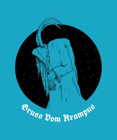 Gruss Vom Krampus T-Shirt Design Template for Christmas 825a