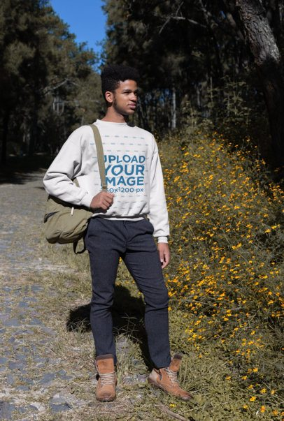 Sweatshirt Mockup of a Man Hiking in the Woods 23185