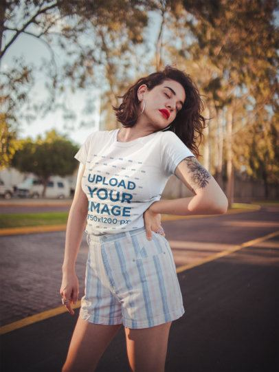 T-Shirt Mockup Featuring a Fashion-Forward Woman in the a Street 19739