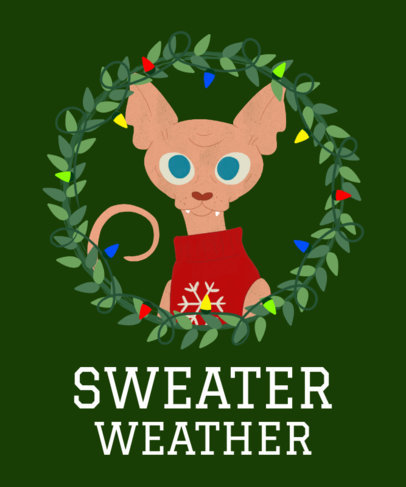 Cats Christmas T-Shirt Design Template 828a