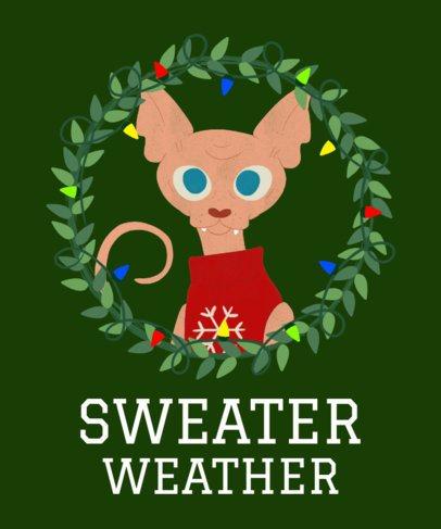 Cats Christmas T-Shirt Design Template 828a