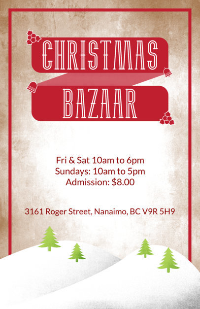 Christmas Flyer Template for a Holiday Bazaar with Winter Landscape Illustration 867