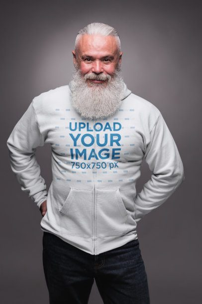 Mockup of a Stylish Older Man Wearing a Zip Up Hoodie 23365