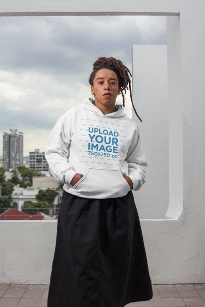 Mockup of a Serious Girl with Locs Wearing a Hoodie 23421
