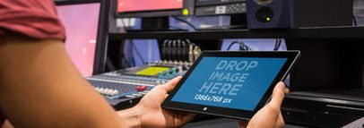 Microsoft Surface Mockup of a Young Man at a Recording Studio a4651wide