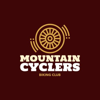 Mountain Cycling Logo Maker with a Wheel Icon 1573f