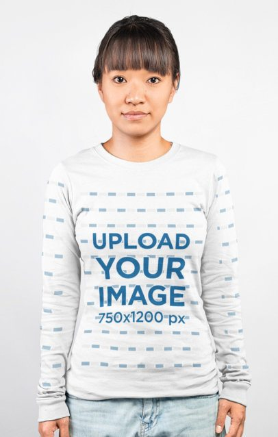 Long Sleeve T-Shirt Mockup of a Woman in a Plain Pose Looking at the Camera 23345