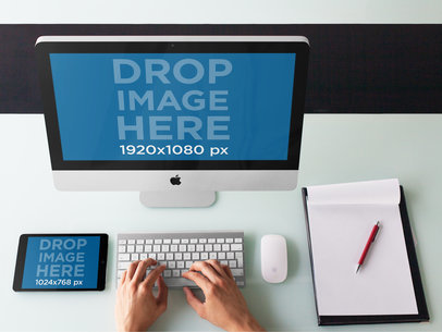 iMac and iPad on Top of a White Desk Mockup b4767