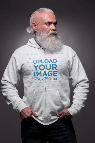 Mockup of an Older Man Wearing a Zip Up Hoodie in a Studio 23373